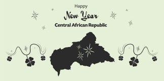 Счастливая тема Нового Года с картой центрально-африканского Re иллюстрация штока