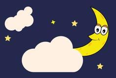 Счастливая луна между звездой и облаком vector иллюстрация Стоковое Изображение