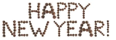 Счастливая фраза Нового Года сделанная конуса сосны Стоковая Фотография RF