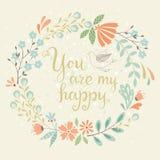 Счастливая флористическая карточка Стоковые Изображения