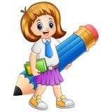 Счастливая школа девушки держа голубой карандаш Стоковая Фотография RF
