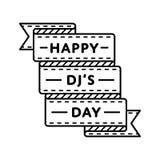 Счастливая эмблема приветствию дня DJs Стоковое фото RF