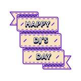 Счастливая эмблема приветствию дня DJs Стоковые Изображения
