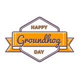 Счастливая эмблема приветствию дня Groundhog Стоковые Изображения RF