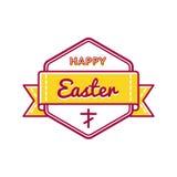 Счастливая эмблема приветствию праздника пасхи Стоковые Изображения RF