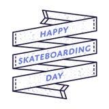 Счастливая Skateboarding эмблема приветствию дня Стоковое фото RF
