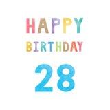 Счастливая 28th карточка годовщины дня рождения иллюстрация вектора