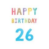 Счастливая 26th карточка годовщины дня рождения Стоковое Фото