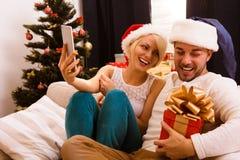 Счастливого рождества соединяют делать фото собственной личности дома Стоковое Изображение