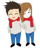 Счастливое аниме Chibi пар Иллюстрация штока