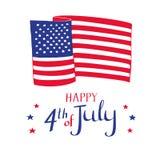 Счастливое 4-ая из карточки в июле Флаг и звезды нарисованные рукой американский Стоковое Изображение