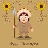 Счастливое благодарение - родной человек с копьем стоковое изображение rf