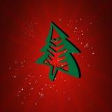 Счастливое дерево Cristmas карточки Нового Года Бесплатная Иллюстрация