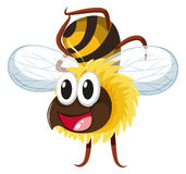Счастливое летание пчелы на белой предпосылке иллюстрация вектора