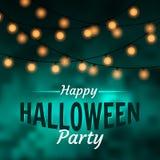 Счастливое знамя партии хеллоуина с шариками ligt на темной предпосылке Иллюстрация штока
