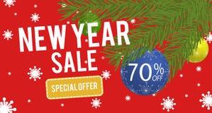 Счастливое знамя продажи Нового Года с скидкой 70 процентов Стоковое фото RF
