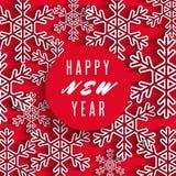 Счастливое знамя текста Нового Года, белые снежинки на красной предпосылке, поздравительной открытке зимнего отдыха Стоковые Изображения RF