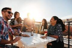 Счастливое молодые люди имея партию крыши стоковая фотография