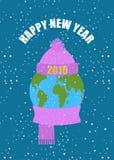 счастливое Новый Год Земля в зиме Планета в связанной КРЫШКЕ и wa иллюстрация вектора