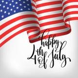 Счастливое 4-ое из США -го знамени Дня независимости в июле с американским флагом иллюстрация вектора