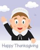 Счастливое официальный праздник в США в память первых колонистов Массачусетса с девушкой паломника Стоковые Изображения RF