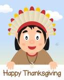 Счастливое официальный праздник в США в память первых колонистов Массачусетса с родным мальчиком Стоковое Изображение