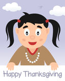 Счастливое официальный праздник в США в память первых колонистов Массачусетса с родной девушкой Стоковое Изображение RF