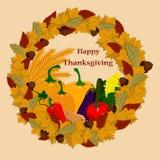 Счастливое официальный праздник в США в память первых колонистов Массачусетса с овощами Бесплатная Иллюстрация