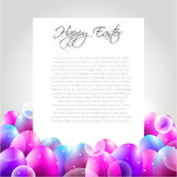 Счастливое письмо вектора пасхи с фиолетовыми яичками иллюстрация штока