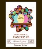Счастливое приглашение пасхального яйца предпосылка покрасила вектор тюльпана формы пасхальныхя eps8 красный Стикеры яичка Стоковое Фото