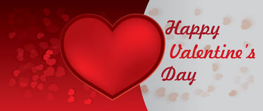 Счастливое сердце красного цвета дня валентинок Стоковое Изображение