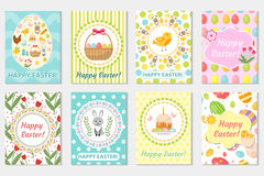 Счастливое собрание поздравительной открытки пасхи, рогулька, плакат Комплект весны милый шаблонов для вашего дизайна также векто Стоковые Изображения RF