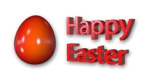 Счастливое сообщение пасхи с красным яичком Стоковое Изображение RF