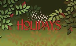 Счастливое сообщение праздников с простыми листьями и ягодами Стоковое Изображение