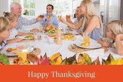 Счастливое сообщение семьи и благодарения Стоковая Фотография RF