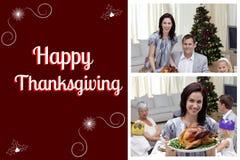 Счастливое сообщение семьи и благодарения Стоковое фото RF