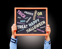 Счастливое сочинительство хеллоуина на доске Стоковое фото RF