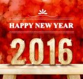 Счастливое слово Нового Года и 2016 деревянные номеров на современном деревянном столе с сверкная стеной bokeh, концепция праздни Стоковое Изображение RF