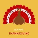 Счастливое торжество благодарения с птицей индюка шаржа Стоковое фото RF
