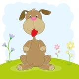 Счастливое усаживание щенка шаржа Стоковое Изображение RF