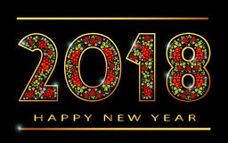 счастливое khokhloma знамени Нового Года 2018 Стоковые Фотографии RF