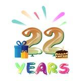 Счастливое 22nd торжество годовщины с подарком Стоковые Изображения