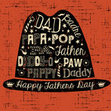 Счастливой иллюстрация карточки дня отцов нарисованная рукой с шляпой Стоковое Фото