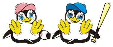 Счастливой пары игры пингвинов к бейсболу иллюстрация штока