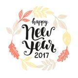Счастливой поздравительная открытка Нового Года 2017 нарисованная рукой Стоковое фото RF