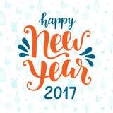 Счастливой поздравительная открытка Нового Года 2017 нарисованная рукой Стоковое Изображение RF