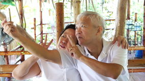 Счастливые азиатские старшие пары принимая selfie в мобильном телефоне парка сток-видео