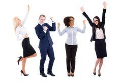 Счастливые бизнесмены празднуя что-то изолированное на белизне Стоковая Фотография