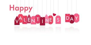 Счастливые бирки смертной казни через повешение дня валентинки на белизне Стоковые Фото