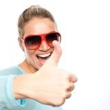 Счастливые большие пальцы руки поднимают женщину Стоковая Фотография RF